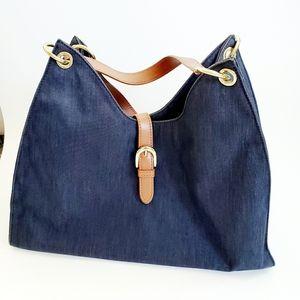 Talbots Denim Leather Trimmed Bag